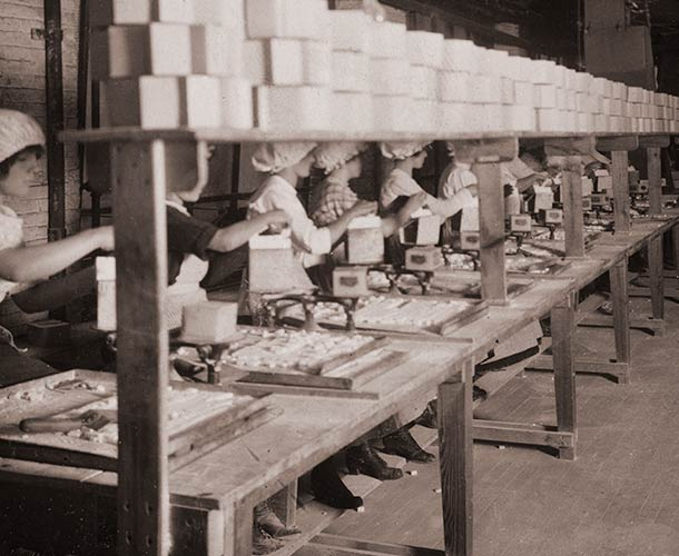 1912 Publicity Photograph. Packaging Line.