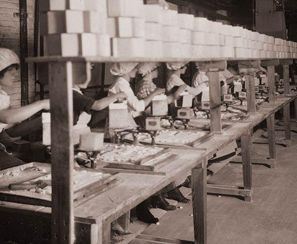 1912 Publicity Photograph. Packaging Line.